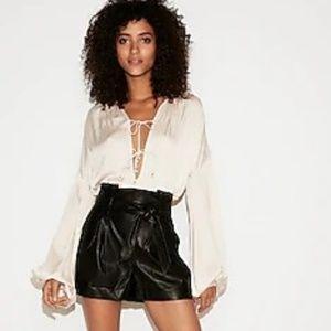 High Waisted (Minus The) Leather Sash Waist Shorts